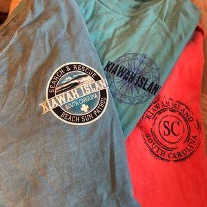 bundle of 3 long sleeved Kiawah Island t-shirts